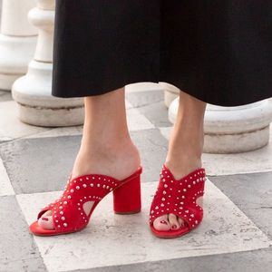 Vince Camuto red suede studded Jorlyn mule sandal